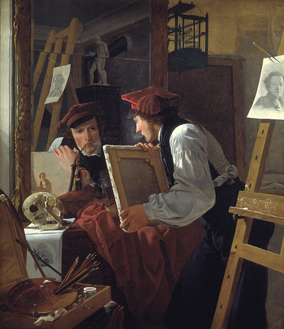 Image from object titled A Young Artist (Ditlev Blunck) Examining a Sketch in a Mirror