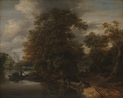 Landscape by a River. In the Background a Limekiln