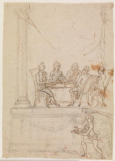 Kongefamilien ved et taffel på Hirschholm Slot 29. september 1771; Tjenere på vej for at servere for et middagsselskab siddende på et podium