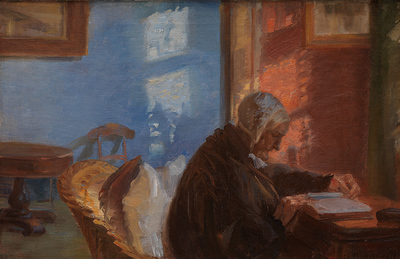 The Artist's Mother Ane Hedvig Brøndum in the Blue Room