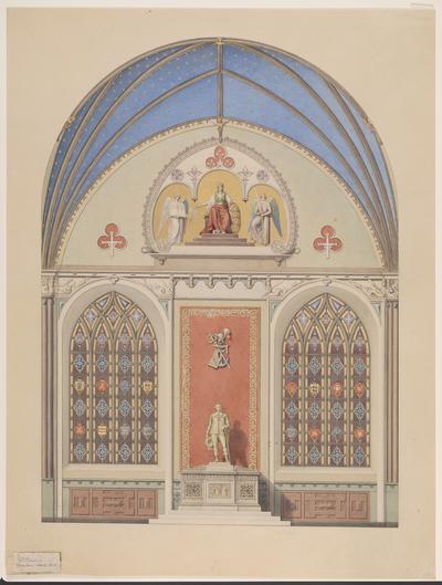 Udkast til hvælvingens dekoration i Christian IV's kapel i Roskilde Domkirke. Udsmykning i midten med statue af Christian IV