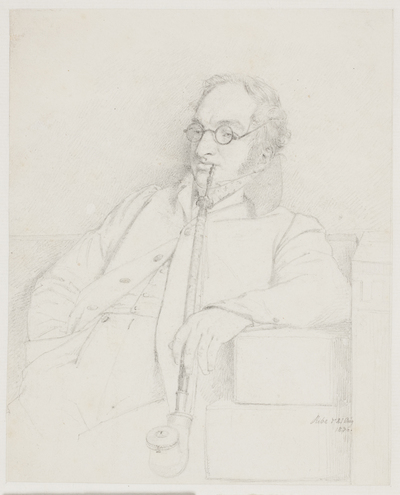 Herre med pibe i munden, siddende i et sofahjørne (adjunkt Peter Christian Adler?)