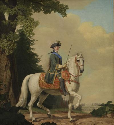 "Catherine II of Russia in Life Guard Uniform on the horse ""Brillante"""