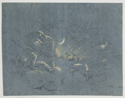 Selene and Endymion, design for a ceiling painting