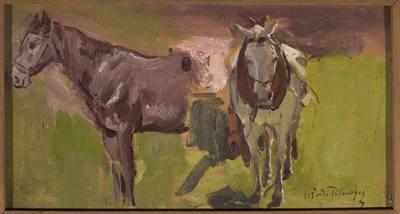 Dwa konie, szkic