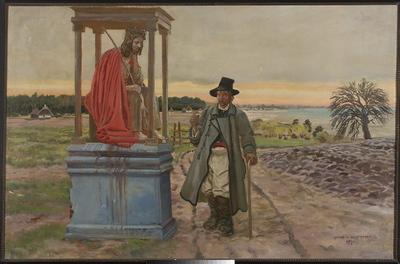 Chłop prtzy kapliczce, Wieśniak przy kapliczce