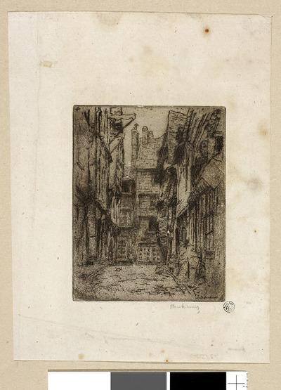 Caudebec en Caux - uliczka ze starymi domami; Caudebec en Caux. Rue de la Boucherie. Zaułek z bawiącymi się dziećmi