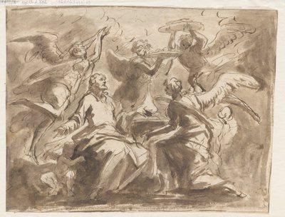 Chrystus po kuszeniu przez diabła, obdarowany posiłkiem przez Anioły; verso, kobieta z koszykiem