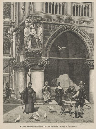 Przed pałacem Dożów w Wenecji
