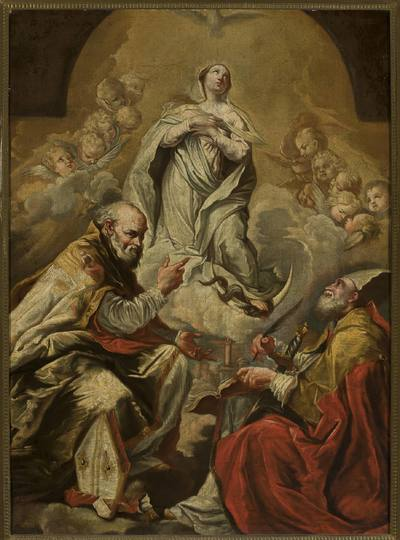 Image from object titled Adoracja Madonny przez św. Petroniusza i Dionizego Aeropagitę
