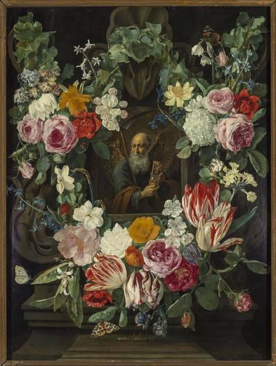 Alegoria czasu w obramowaniu wieńca z kwiatów