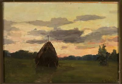 Krajobraz ze stogiem siana