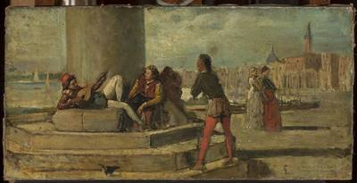 Scena rodzajowa na tle Wenecji