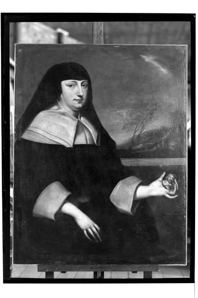 Portret wdowy z miniaturą w ręku
