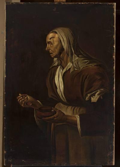 Portret staruszki z miską
