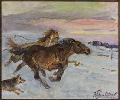 Ucieczka koni przed wilkiem