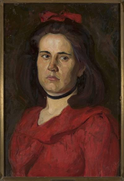 Portret kobiety w czerwonej sukni