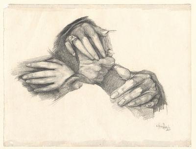 """Studium dłoni wg obrazu """"Shylock i Jessica"""" Maurycego Gottlieba z 1876 roku. Studium do grafiki"""