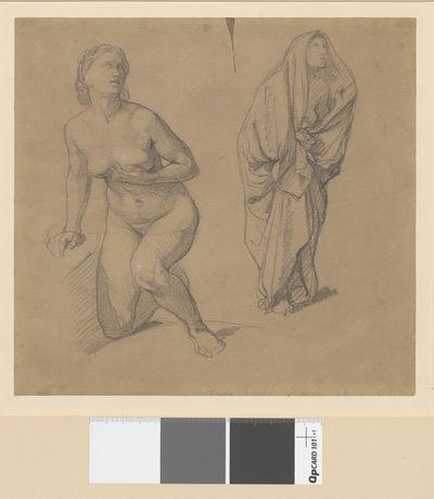 Dwa studia: akt klęczącej kobiety, kobieta spowita w tkaninę