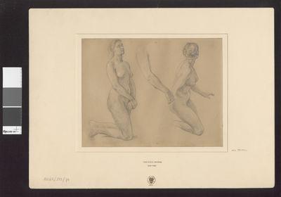 Dwa studia klęczącej nagiej kobiety, studium ręki