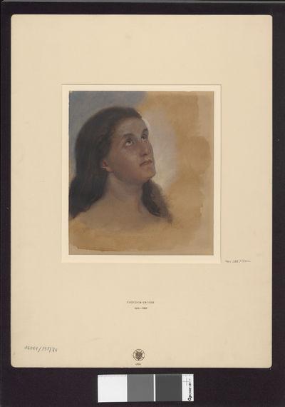 Głowa kobiety spoglądające w górę