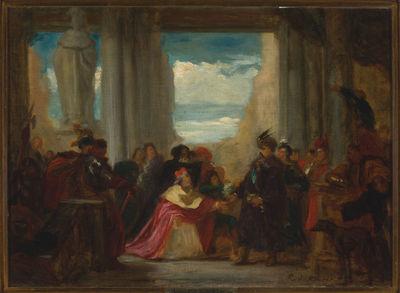 Hrabia Wilczek błagający króla Jana Sobieskiego o pomoc dla Wiednia przeciw Turkom, szkic