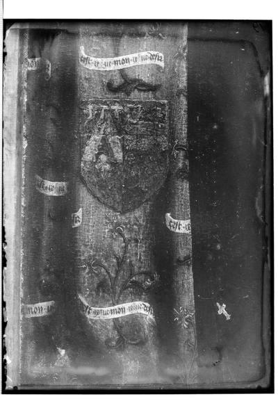Tryptyk: Część środkowa: Opłakiwanie (Mt 27, 59-61; Mk 15, 46-47; Łk 23, 53-56; J 19, 38-42); Lewe skrzydło: Msza św. Grzegorza i donator Gregoire de Mouscron; Prawe skrzydło: Święty Jodok i donatorka Jossine de Mouscron;...