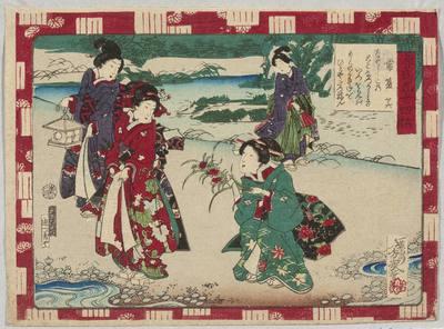 Tokonatsu (Dziki goździk); rycina z cyklu Genji gojushi cho (Genji, pięćdziesiat cztery księgi)