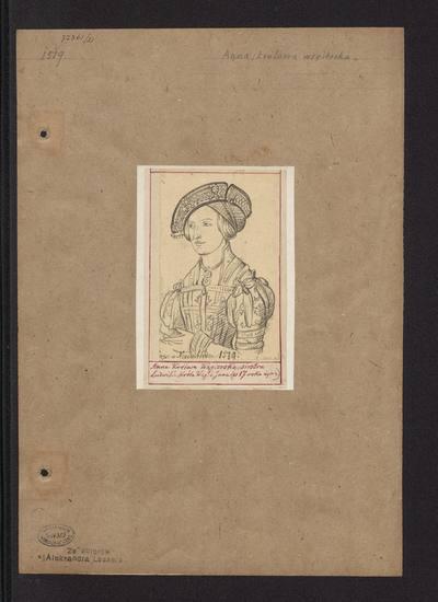 Portret królowej węgierskiej i czeskiej Anny Jagiellonki w siedemnastym roku życia, popiersie w stroju z 1 ćw. XVI wieku, według portretu Hansa Malera zu Schwaz z 1519 roku