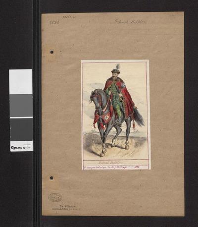 "Portret konny Gábora Bethlen, króla Węgier, według ilustracji z ""La Hongrie ancienne et moderne: Histoire, Arts, Littératur..."" M. J. Boldényi, Paris 1851"