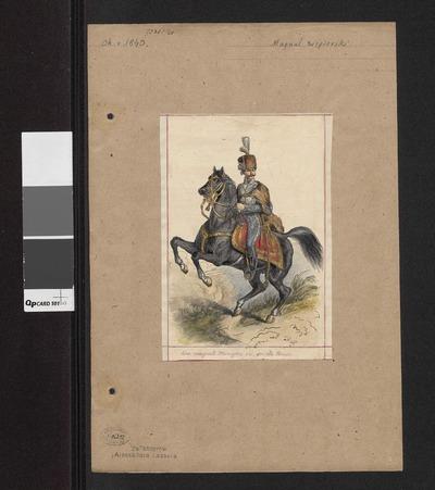 Magnat węgierski w stroju z około 1840 roku na koniu, według ryciny bądź obrazu