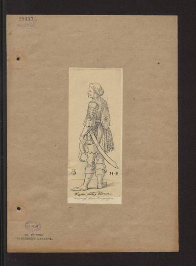"""Żołnierz węgierski w zbroi z XV wieku, według drzeworytu Hansa Burgkmaira i Albrechta Dürera z powieści """"Der Weisskunig"""" (""""Biały Król)"""