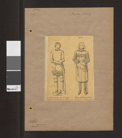 Dwóch rycerzy włoskich w zbrojach i z białą bronią z XIV wieku