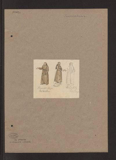 Trzej zakonnicy w strojach franciszkańskich i benedyktyńskim, szkice