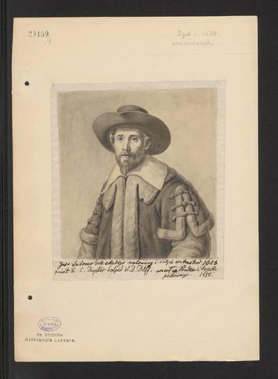 Portret Josepha Salomona Delmedigo w stroju z 1 połowy XVII wieku, według ryciny z obrazu Willema Cornelisza Duystera, z 1628 roku