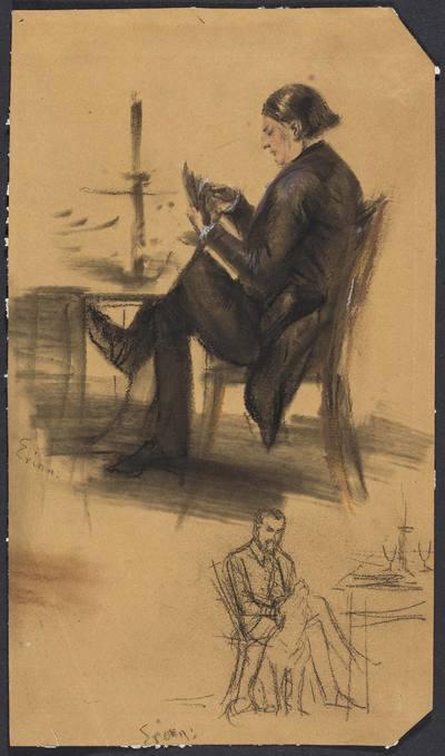 Mężczyzna z kartami w ręku przy stoliku do gry; mężczyzna siedzący przy stoliku, głaszczący psa