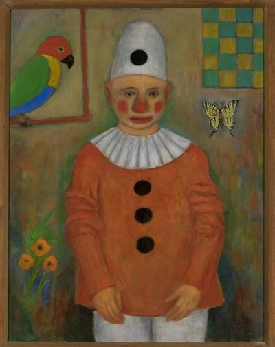 Clown z papugą
