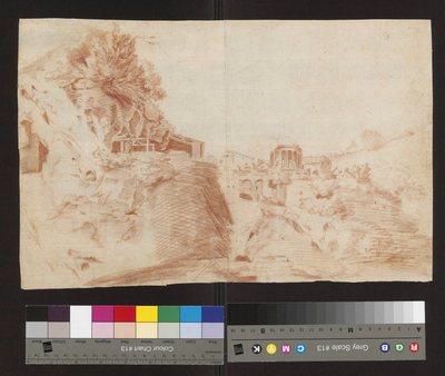 Pejzaż z widokiem świątyni w Tivoli