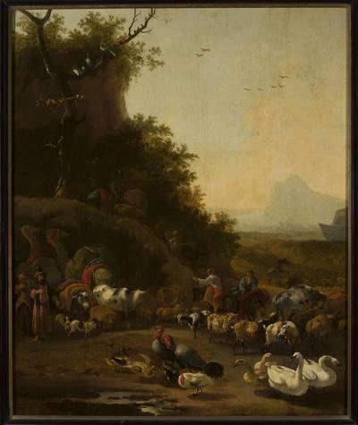Rodzina Noego i zwierzęta przed arką (Rdz 7, 1-3)