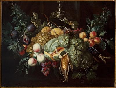 Martwa natura z owocami i kukurydzą