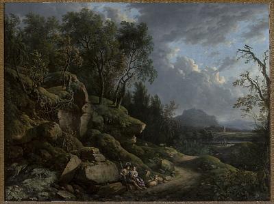 Krajobraz górski z pasterzem i pasterką