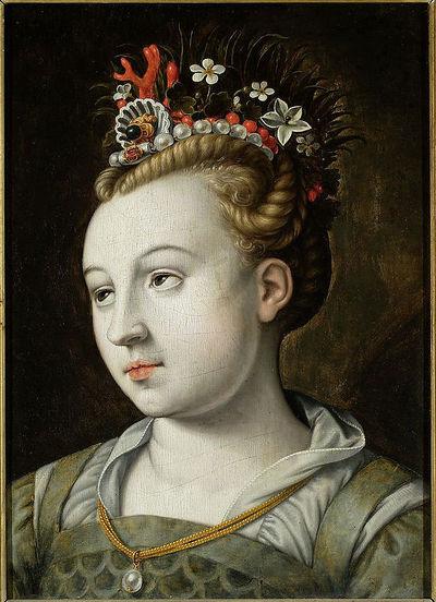 Głowa kobiety z oczami wzniesionymi do góry