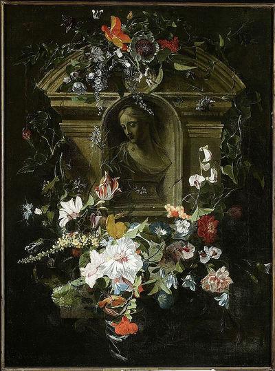 Popiersie kobiety w otoku kwiatów