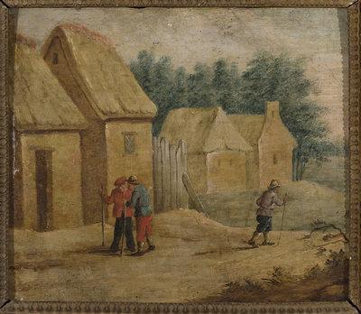 Zabudowania wiejskie z postaciami wieśniaków