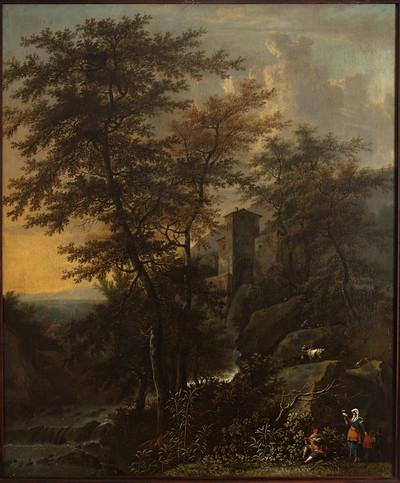 Krajobraz pasterski z młynem wodnym