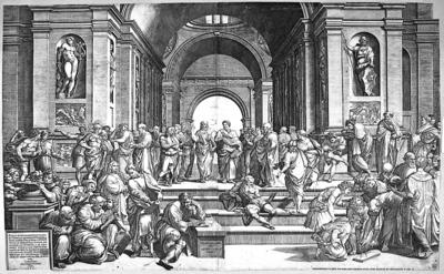 Inskrypcja w obrębie kompozycji identyfikuje scenę jako Kazanie św. Pawła w Atenach...