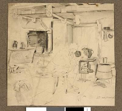 Wnętrze izby; verso: szkic motywu