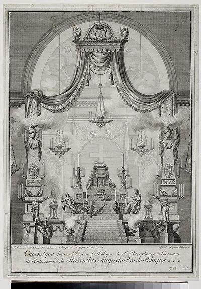 Katafalk Stanisława Augusta wystawiony w kościele katolickim św. Katarzyny w Petersburgu w dniach 5-8 marca 1798 roku