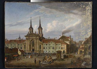 Dawny kościół popijarski w Warszawie  Plac Krasińskich  Targ na Placu Krasińskich  Kościół Pijarów na ulicy Długiej