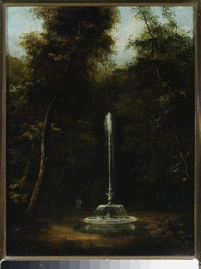 Widok Parku Łazienkowskiego z fontanną II